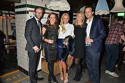 Left to right, EDDIE BOXSHALL, NATALIE PINKHAM, DENISE VAN OUTEN, ANNEKE GILKES and CHARLIE GILKES at a party to celebrate the opening of Cahoots - a new nightclub from the Inception Group at 13 Kingly Court, Soho, London on 26th February 2015.