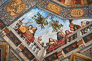 Renaissance ceiling paintings by Benevento Tisi also known as il Garofalo, of the Ferrara Renaissance school of art, depicting an upward perspective scene, The Treasure Hall, Palazzo Costabili, National Archaeological Museum, Ferrara, Italy .<br /> <br /> Visit our ITALY PHOTO COLLECTION for more   photos of Italy to download or buy as prints https://funkystock.photoshelter.com/gallery-collection/2b-Pictures-Images-of-Italy-Photos-of-Italian-Historic-Landmark-Sites/C0000qxA2zGFjd_k<br /> If you prefer to buy from our ALAMY PHOTO LIBRARY  Collection visit : https://www.alamy.com/portfolio/paul-williams-funkystock/ferrara.html
