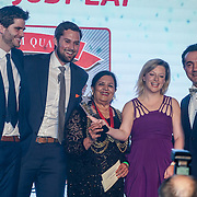 "Cllr Saleha Jaffer, The Mayor of Lambeth present German Doner Kebab West Ealing award to winner ""Gokyuzu"" at the 5th British Kebab Awards on 26th Feb 2017 at Park Plaza Westminster ,London,UK. by See Li"
