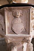 Carved stone angel baptismal font, Church of Saint Gregory, Rendlesham, Suffolk, England, UK