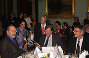 Professor John Benyon, Professor Lord Parekh and Lady Parekh and Kenneth Clarke,  Political Studies Association Awards 2004. Institute of Directors, Pall Mall. London SW1. 30 November 2004.  ONE TIME USE ONLY - DO NOT ARCHIVE  © Copyright Photograph by Dafydd Jones 66 Stockwell Park Rd. London SW9 0DA Tel 020 7733 0108 www.dafjones.com
