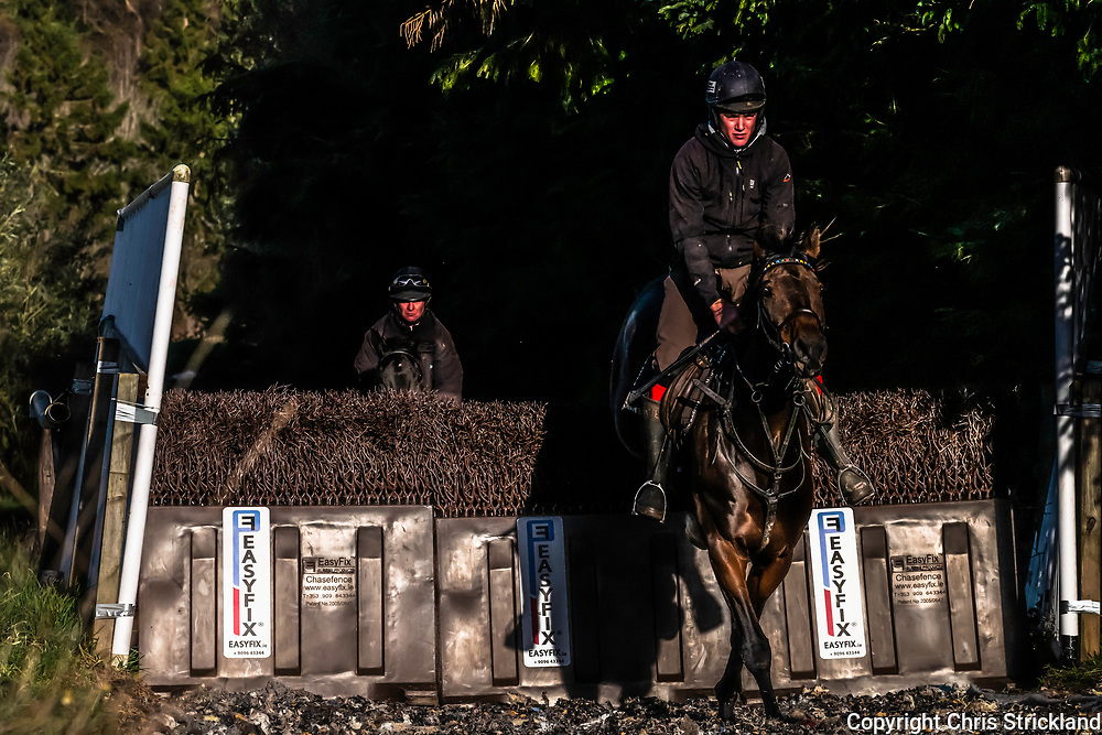Camptown, Jedburgh, Scottish Borders, UK. 22nd October 2018. National Hunt Racehorses in training at the yard of Harriet Graham in the Scottish Borders.