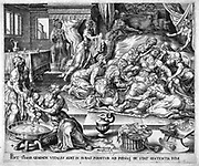 Tamar giving birth to Pharez & Sarah. Midwife (old woman) delivers Sarah while twin brother is washed. Centre front: basket of swaddling bands is ready to wind round infants. Tamar is sitting on a birthing stool. Copperplate engraving by Hermann Muller after Marten van Heemskerk (1498-1574).