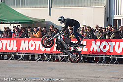 Stunters performed everyday of the Motor Bike Expo. Verona, Italy. January 23, 2016.  Photography ©2016 Michael Lichter.
