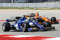 October 21, 2017 - Austin, Texas, U.S - Sauber driver Marcus Ericsson (9) of Sweden and Stoffel Vandoome of Belguim (2) in action during the final practice before the Formula 1 United States Grand Prix race at the Circuit of the Americas race track in Austin,Texas. (Credit Image: © Dan Wozniak via ZUMA Wire)