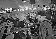 """Tony Furtado, Anais Mitchell, Willie Porter rehearsing """"Time After Time"""" before the Sunday Community Celebration, 2011."""