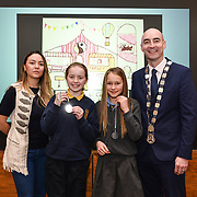 05/03/2019<br /> Pictured are award winners Emma O'Brien and Elina Freiberga from Scoil an Spioraid Naomi, Roxborough, along with Sara Montoya, co-op member of Fairtrade Colombia, and Cllr Daniel Butler, Mayor of the Metropolitan District of Limerick.<br /> <br /> Fairtrade worker Sara Montoya, from a Fairtrade Coffee Co-op in Colombia was the special guest in Limerick City and County Council chamber today at an event to coincide with Fairtrade Fortnight.<br />  <br /> Sara joined Fairtrade supporters from across Limerick and Ireland for the annual initiative, which features a programme of talks and community events aimed at promoting awareness of Fairtrade and Fairtrade-certified products.<br />  <br /> Speaking at the event in Dooradoyle, Sara outlined the success and benefits of the Fairtrade movement in Colombia and how important it is for people in the developed world think of Fairtrade products when shopping.<br />  <br /> This year's campaign 'Create Fairtrade' invites us all to use our imagination and create fairtrade in our lives.<br />  <br /> Young people from across Limerick city and county were also a focus of the event as they displayed their posters, which they created to help change the way people think about trade and the products on our shelves.<br /> Photo by Diarmuid Greene