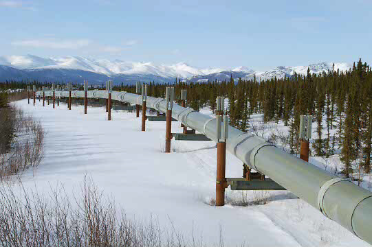 The controversial Alaskan pipeline used to carry oil from Prudoe Bay winds it's way from the northern tip of Alaska, over the tundra, through the Brooks range, ending at the southern town of Valdez. Alaska's oil reserves are some of the most important in the United States.