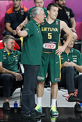 11.09.2014, City Arena, Barcelona, ESP, FIBA WM, USA vs Litauen, Halbfinale, im Bild Lithuania's coach Jonas Kazlauskas with his player Adas Juskevicius // during FIBA Basketball World Cup Spain 2014 semi-final match between United States and Lithuania at the City Arena in Barcelona, Spain on 2014/09/11. EXPA Pictures © 2014, PhotoCredit: EXPA/ Alterphotos/ Acero<br /> <br /> *****ATTENTION - OUT of ESP, SUI*****