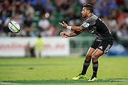 Richie Mo'unga of the BNZ Crusaders passes out wide during the Canterbury Crusaders v the Western Force Super Rugby Match. Nib Stadium, Perth, Western Australia, 8th April 2016. Copyright Image: Daniel Carson / www.photosport.nz