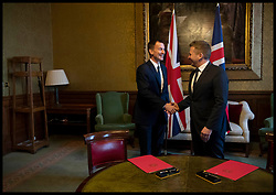 March 26, 2019 - London, London, United Kingdom - Jeremy Hunt meeting with Icelandic Foreign Minister. Foreign Secretary Jeremy Hunt meeting with  Icelandic Foreign Minister Gudlaugur Thór Thórdarson at the Foreign Office, central London. The two Ministers sign a Memorandum of Understanding on our shared commitment to defence and security cooperation, covering policing, cyber and organised crime. (Credit Image: © Andrew Parsons/i-Images via ZUMA Press)