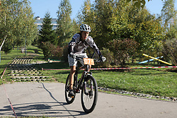 SARAJEVO, Oct. 16, 2017  A cyclist competes during the men's mountain bike cross-country of cycling at the 1st Bike Fest in Sarajevo, Bosnia and Herzegovina (BiH), on Oct. 15, 2017. Family day and mountain bike cross-country of cycling gathered all generations closer at the event ''First Bike Fest'' at the hill near the center of Bosnia and Herzegovina's (BiH) capital Sarajevo on late Sunday afternoon. (Credit Image: © Haris Memija/Xinhua via ZUMA Wire)