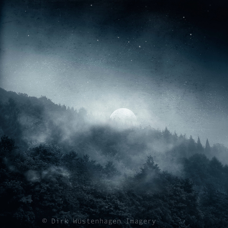 Redbubble Prints & more --> https://rdbl.co/2RMySDS<br /> <br /> Wisps of mist over a forest hill in moon light