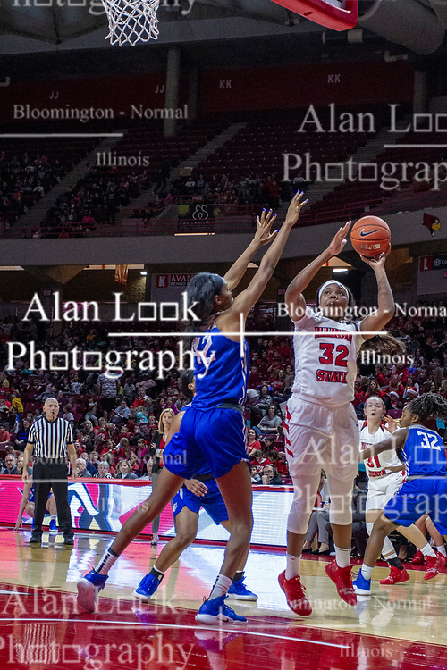 NORMAL, IL - December 20: Simone Goods shoots over defender Brooke Flowers during a college women's basketball game between the ISU Redbirds and the St. Louis Billikens on December 20 2018 at Redbird Arena in Normal, IL. (Photo by Alan Look)