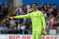 Thibaut Courtois , the Chelsea goalkeeper looks on. Premier league match, Swansea city v Chelsea at the Liberty Stadium in Swansea, South Wales on Sunday 11th Sept 2016.<br /> pic by  Andrew Orchard, Andrew Orchard sports photography.