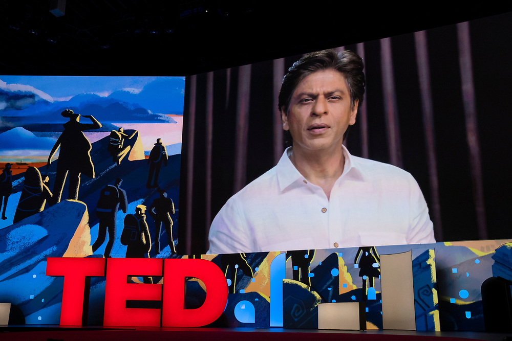 Shah Rukh Khan speaks at TED2019: Bigger Than Us. April 15 - 19, 2019, Vancouver, BC, Canada. Photo: Bret Hartman / TED