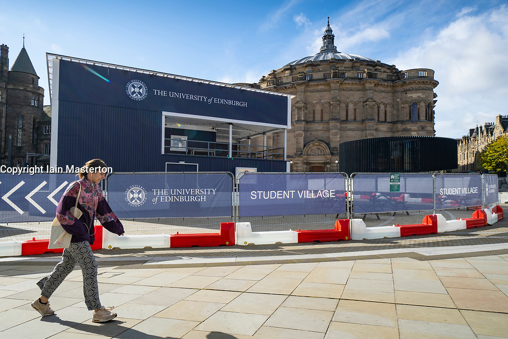 Edinburgh, Scotland, UK.. A temporary student bar has been constructed in Bristo Square at the University of Edinburgh to allow greater social distancing between students on campus. Iain Masterton/Alamy Live News