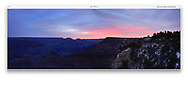 South Rim view in silhouette at sunset, Grand Canyon National Park, Arizona,, USA, Panoramic View