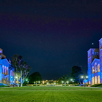 ASUCLA - UCLA 'Lights It Blue' to show appreciation for those protecting our communities. Powell Library and Royce Hall bathed in blue light as part of #LightItBlue, a campaign to honor the essential workers keeping our communities going during the COVID-19 pandemic.<br /> April 23rd, 2020<br /> Copyright Don Liebig/ASUCLA<br /> 200423_ASUCLA_391.NEF