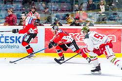 29.02.2020, Ice Rink, Znojmo, CZE, EBEL, HC Orli Znojmo vs HCB Suedtirol Alperia, Viertelfinale, 3. Spiel, im Bild v.l. Robert Flick (HC Orli Znojmo) Anthony Luciani (HC Orli Znojmo) Luca Frigo (HCB Sudtirol Alperia) // during the Erste Bank Eishockey League 3rd quarterfinal match between HC Orli Znojmo and HCB Suedtirol Alperia at the Ice Rink in Znojmo, Czech Republic on 2020/02/29. EXPA Pictures © 2020, PhotoCredit: EXPA/ Rostislav Pfeffer