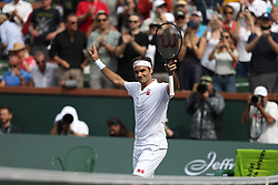 INDIAN WELLS, CA - MARCH 10:  Roger Federer on Day 10 of the BNP Paribas Open at the Indian Wells Tennis Garden on March 10 2019 in Indian Wells, California...People:  Roger Federer (Credit Image: © SMG via ZUMA Wire)