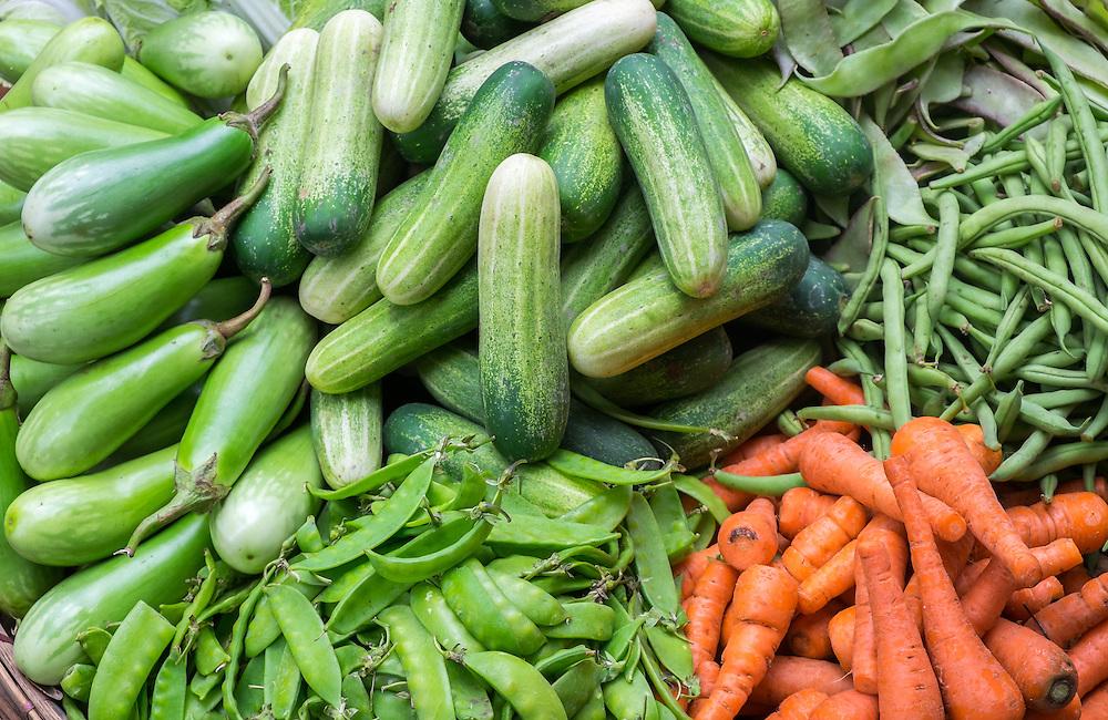 YANGON, MYANMAR - CIRCA DECEMBER 2013: Variety of vegetables in the street market of Yangon.