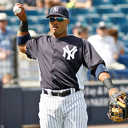 March 2, 2011; Tampa, FL, USA; New York Yankees second baseman Robinson Cano (24) during a spring training exhibition game against the Houston Astros at George M. Steinbrenner Field.  Mandatory Credit: Derick E. Hingle