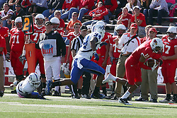 22 October 2011: Matt Younger stumbles up the sideline followed by Jacolby Washington during an NCAA football game  the Indiana State Sycamores lost to the Illinois State Redbirds (ISU) 17-14 at Hancock Stadium in Normal Illinois.