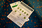 """Information for citizens about coronavirus"" for train travellers by the Czech ministry of health in a train to Cheb towards the German border. A lot less commuters and travellers are visible after the Coronavirus pandemic (COVID-19) outbreak - pictured on the 11th of March 2020."