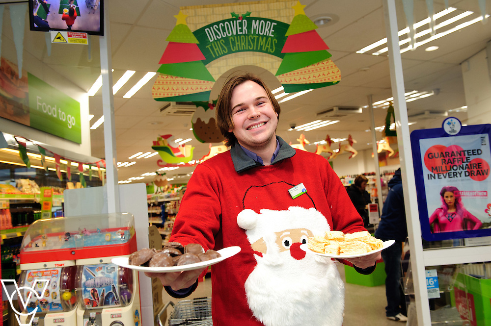 Bracebridge Heath Food Store: Pictured is Daniel Bancroft with some of the food samples given away during the Christmas Event Day<br /> <br /> The Lincolnshire Co-op's in store Christmas Event Day.<br /> <br /> Date: November 28, 2015<br /> Picture: Chris Vaughan/Chris Vaughan Photography