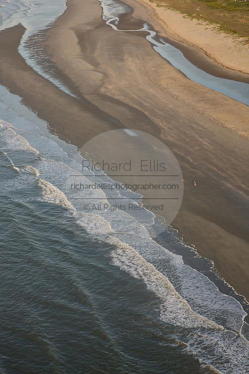Aerial view of sandbars along the beach on Sullivan's Island in Charleston, SC
