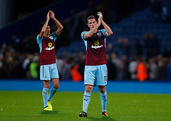 Burnley's Chris Wood (right) and Jack Cork thank the travelling fans after the Carabao Cup, Second Round match at Ewood Park, Blackburn.