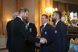 The Duke of Sussex meets Bangladesh cricket captain Masrafe Bin Mortaza (second left), England captain Eoin Morgan (centre) and India captain Virat Kohli (right) during a Royal Garden Party at Buckingham Palace in London.