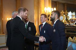 The Duke of Sussex meets Bangladesh cricket captain Masrafe Bin Mortaza (second left), England captain Eoin Morgan (centre) and India captain Virat Kohli (right) during a Royal Garden Party at Buckingham Palace in London.