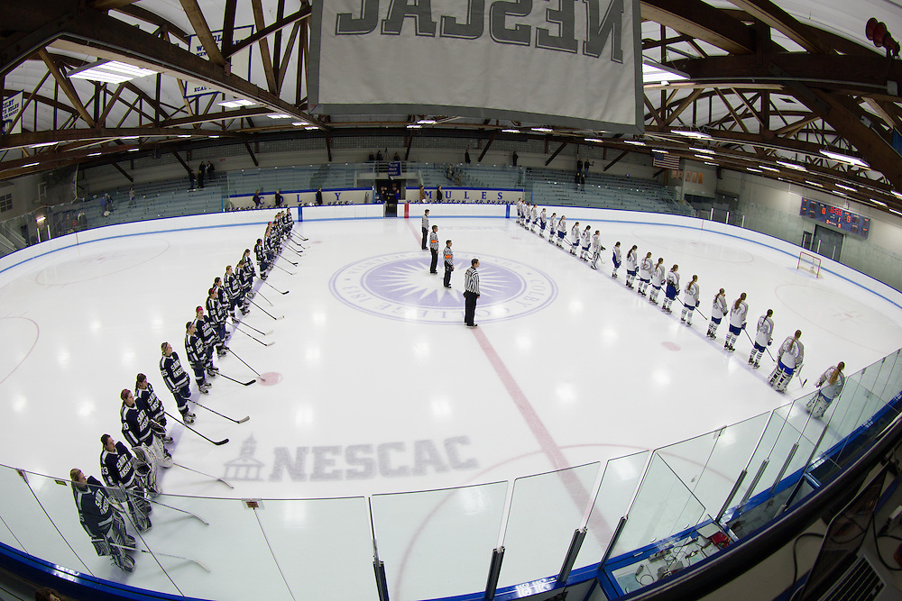 Colby College women's hockey team before the start of a NCAA Division III hockey game against Saint Anselm College on December 5, 2014 in Waterville, ME. (Dustin Satloff/Colby College Athletics)