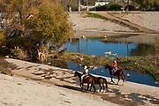 Horseback Riding along the Los Angeles River, Glendale Narrows, Los Angles, California, USA