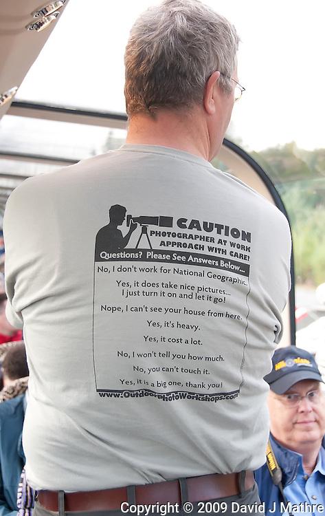 "Albert, A Big Photographer Wearing his ""Caution Photographer at Work"" Shirt."