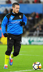 Liam Noble of Notts County warms up - Mandatory by-line: Nizaam Jones/JMP - 06/02/2018 - FOOTBALL - Liberty Stadium - Swansea, Wales - Swansea City v Notts County - Emirates FA Cup fourth round proper