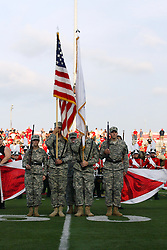 10 September 2011: The ROTC color guard presented the colors before the NCAA football game between the Morehead State Eagles and the Illinois State Redbirds at Hancock Stadium in Normal Illinois.