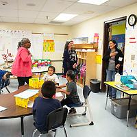 U.S. Representative Deb Haaland visits Ms. Flourney's kindergarten class as she tours To'Hajillee Community School Tuesday, Oct. 8 in To'Hajiilee.