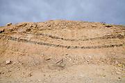 Israel, Arava, Sediment layers on the Graet Rift Valley