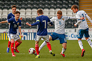 Connor Smith (C)(Heart of Midlothian) & Igor Vorobyev  challenge for a 50/50 ball during the U17 European Championships match between Scotland and Russia at Simple Digital Arena, Paisley, Scotland on 23 March 2019.