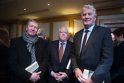 20/1/16  Bob Hughes, former director of news TV3, Richard Moore, former Government advisor and former Government press officer Eoghan Naughton at the launch of Noel Whelan's book, The Tallyman's Campaign Handbook at the Alexander Hotel in Dublin. Picture: Arthur Carron