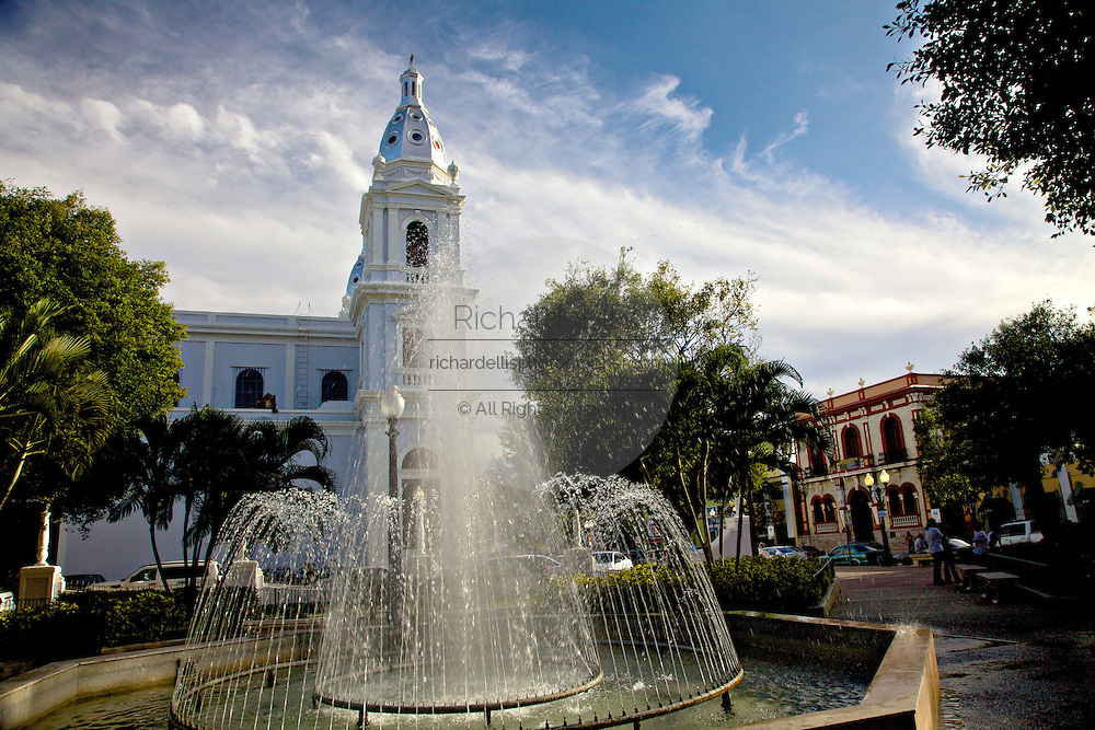 Fountain and Ponce Cathedral in Plaza Muñoz Rivera section of the Plaza Las Delicias February 21, 2009 in Ponce, Puerto Rico.