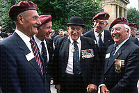 Pictured General Mad Mike Calvert talks to other British and French SAS veterans. Photographed by Terry Fincher