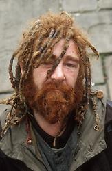 Portrait of homeless man,