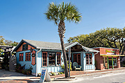 Eclectic boutiques along the historic Flagler Avenue shopping district in New Smyrna Beach, Florida.