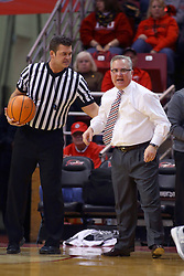 08 February 2018:  Jeff Campbell works to get Barry Hinson back where he belongs during a College mens basketball game between the Southern Illinois Salukis and Illinois State Redbirds in Redbird Arena, Normal IL