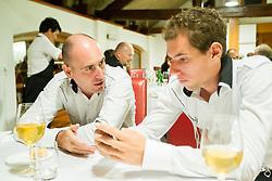Ziga Ham and Janez Semrajc at VIP Dinner at Davis cup Slovenia vs South Africa competition on September 11, 2013 in Jezersek Restaurant, Zg. Brnik, Slovenia. (Photo by Vid Ponikvar / Sportida.com)