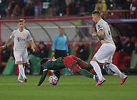 MOSCOW, RUSSIA - OCTOBER 27:  Niklas Sule of FC Bayern Muenchen fouls Ze Luis of Lokomotiv Moskva during the UEFA Champions League Group A stage match between Lokomotiv Moskva and FC Bayern Muenchen at RZD Arena on October 27, 2020 in Moscow, Russia. (Photo by MB Media)